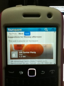 Foursquare on BlackBerry 9360