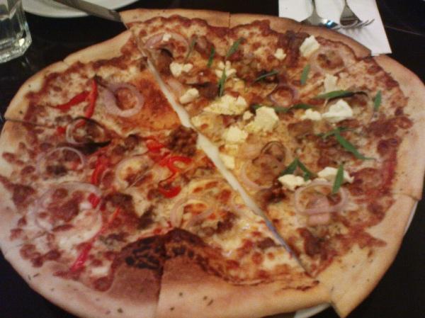 Spicy Chorizo, Tarragon Chicken pizza halves